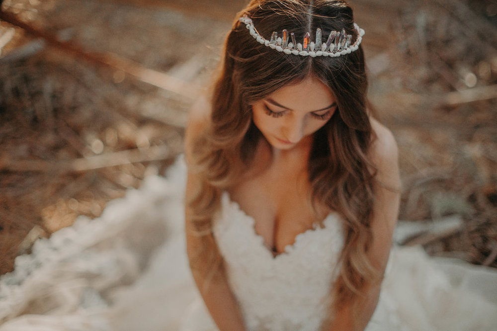boho bride sea shell and geode stone crown