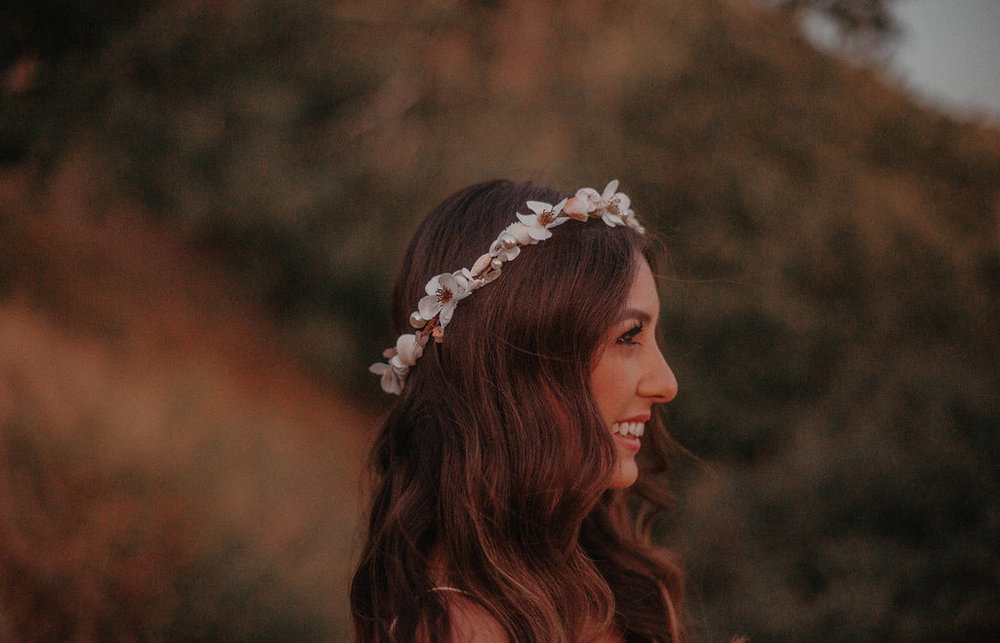 boho bride sea shell and geode stone flower crown