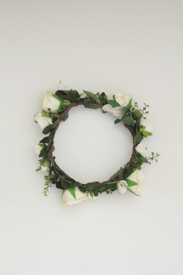 white and cream floral crown with eucalyptus greenery and leaves by Love Sparkle Pretty