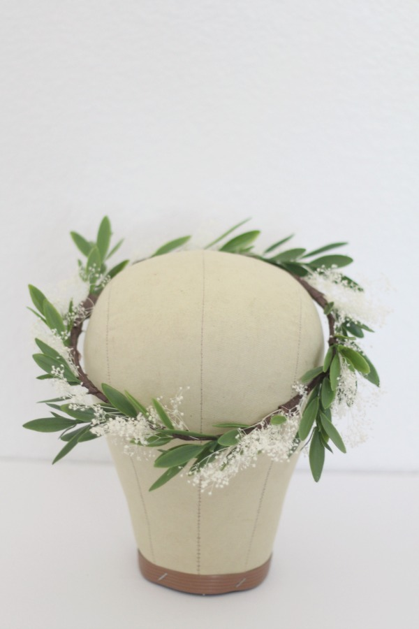 I created a set of these olive leaf and babies breath crowns for the bridesmaids