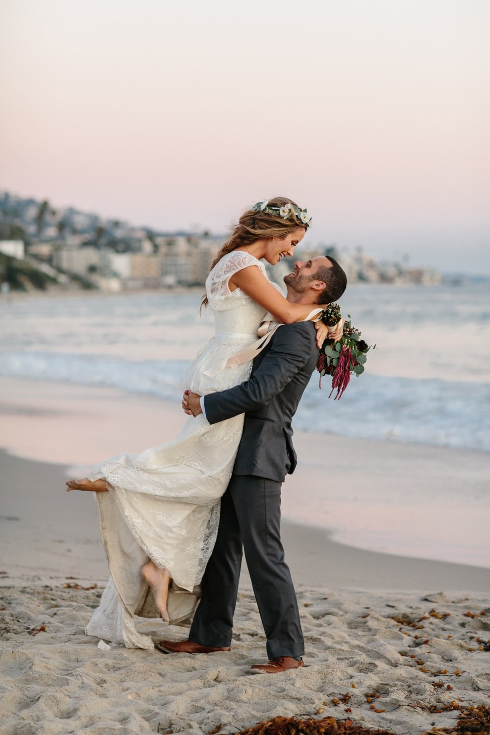 laguna beach wedding with flower crown by Love Sparkle Pretty