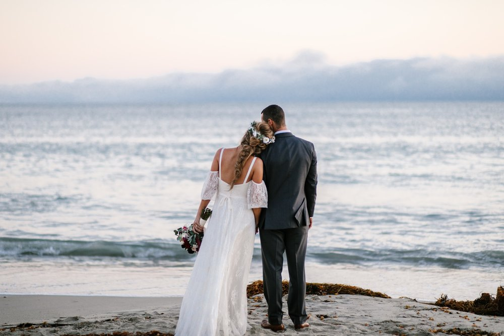 laguna beach wedding with flower crown by Love Sparkle Pretty and boho beach braided hairstyle for the boho coastal bride