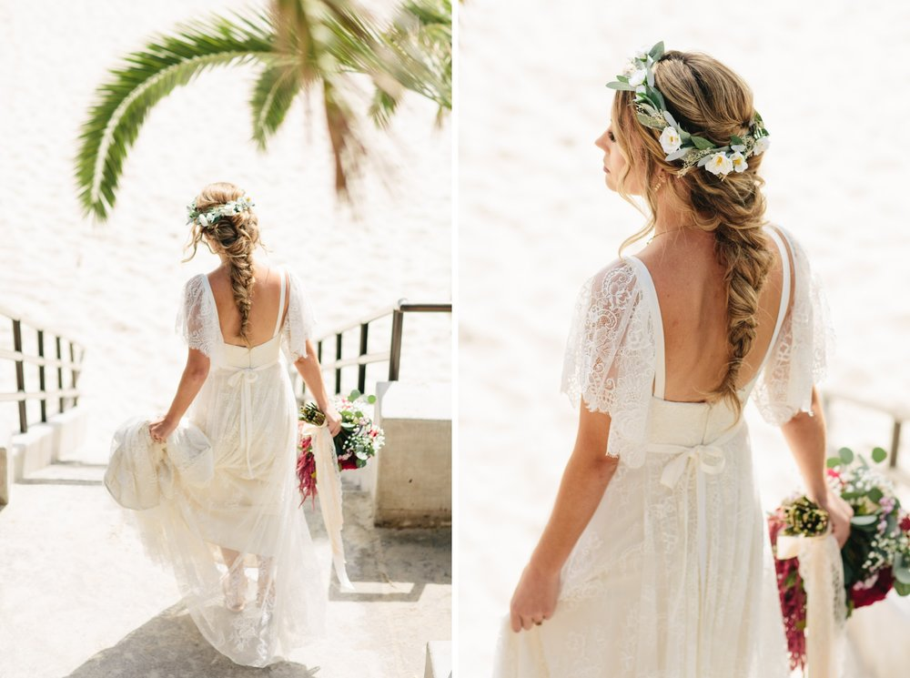 boho beach bridal hair with long braid and flower crown by Love Sparkle Pretty