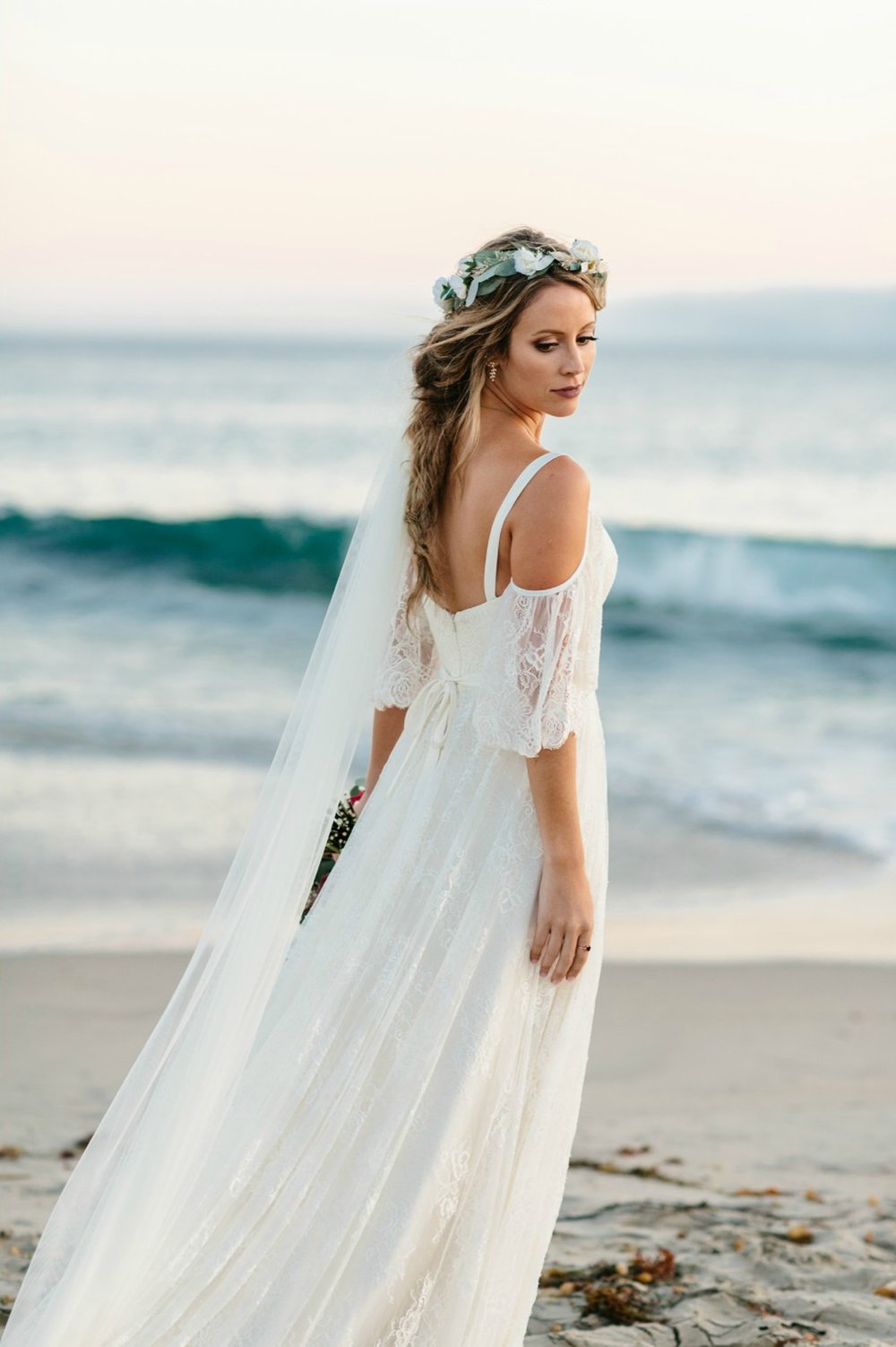 beautiful boho beach bride with flower crown by Love Sparkle Pretty