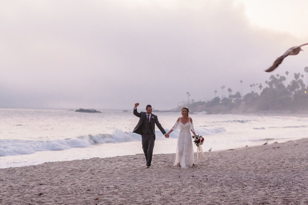 laguna beach wedding with romantic bohemian vibe