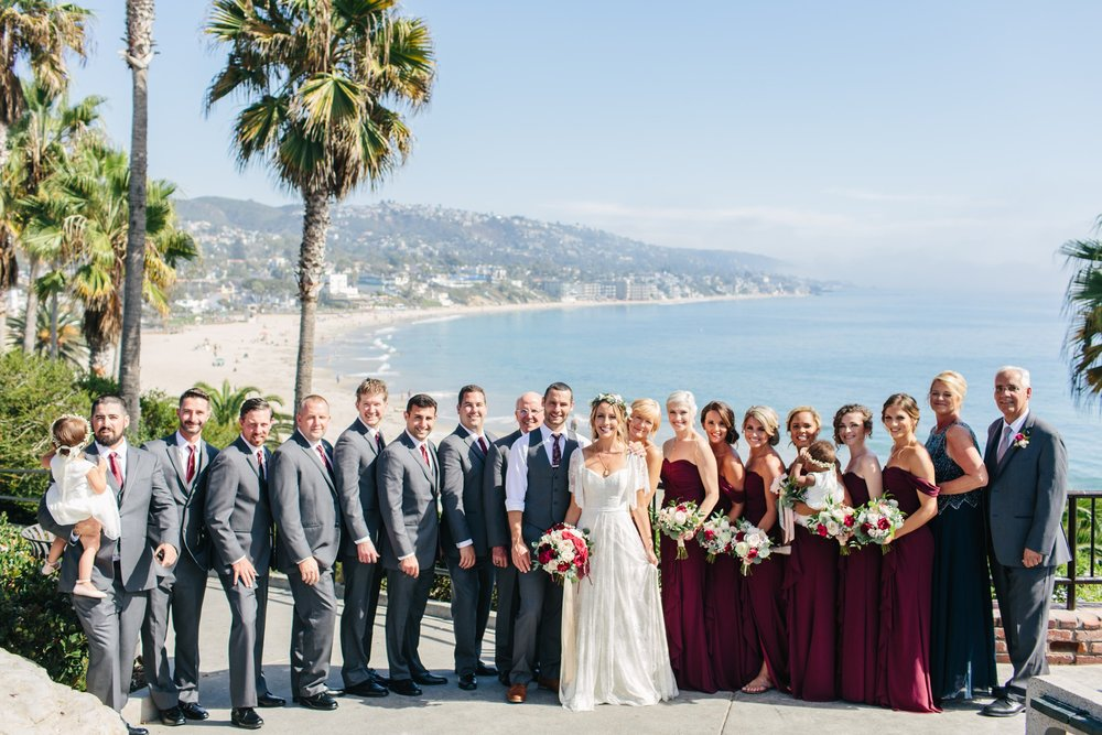 bridal party with beautiful coastal wedding