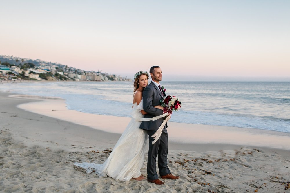 laguna beach wedding with romantic and bohemian vibes including a floral crown by Love Sparkle Pretty