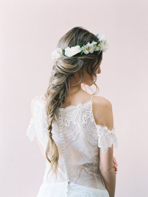 The Poetry Flower Crown created with ivory and white flower blossoms ...
