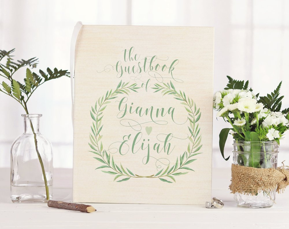 greenery-wedding-guest-book-idea