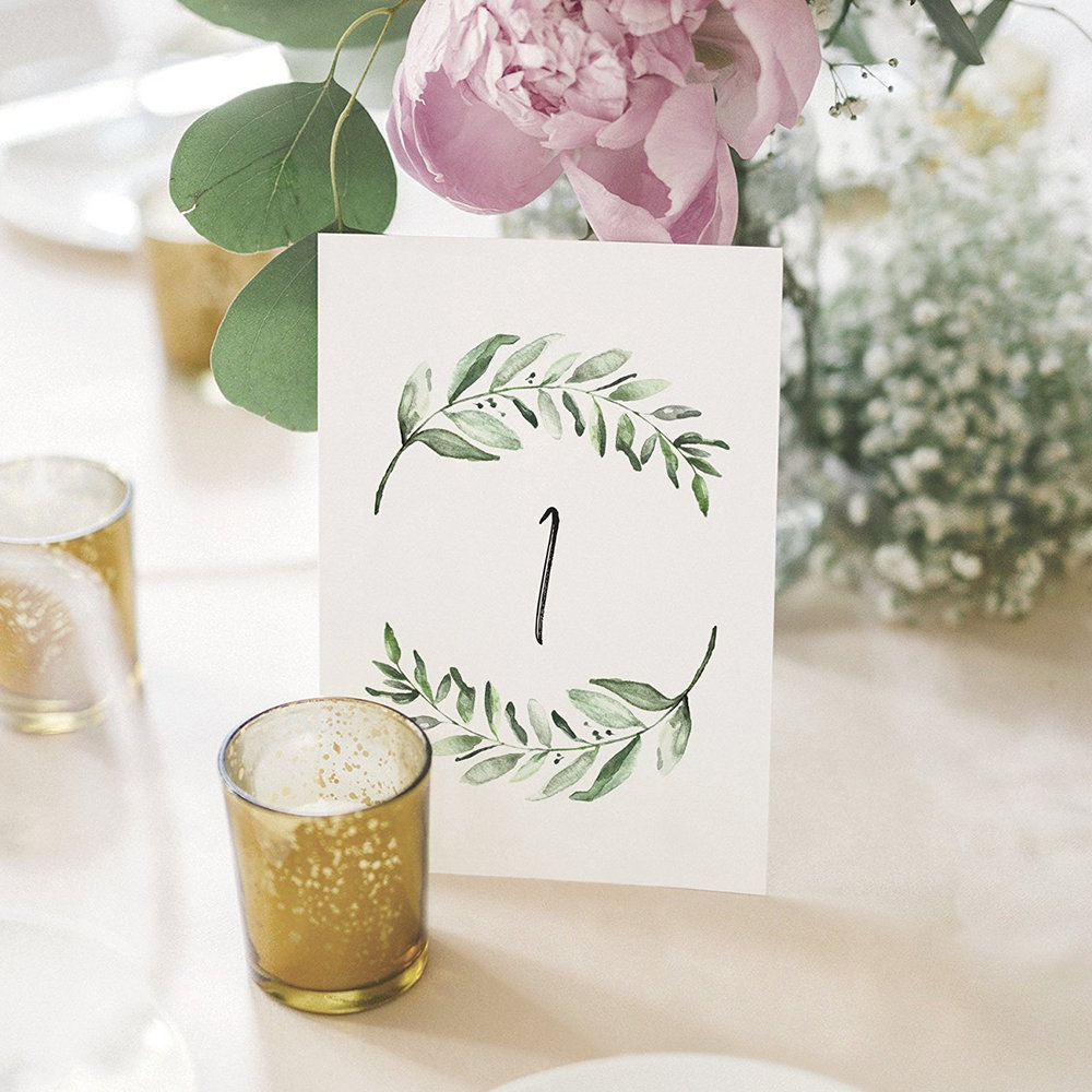 greenery-wedding-table-numbers