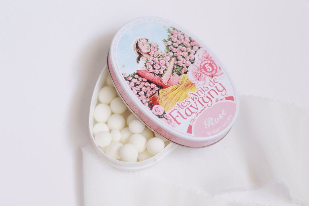 The  Rose Mints  actually inspired this entire gift set! I bought these at a quaint boutique on a girls trip and once I saw the cute tin and tasted the floral mints (they really taste like roses!), I was immediately captivated with this idea! I found them on Amazon!