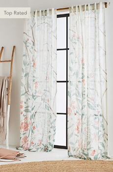 Floral Curtains from Anthropologie with Greenery and Flowers