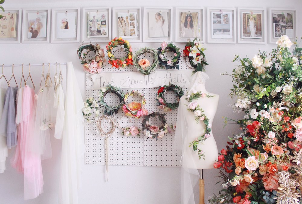 pretty studio space of bridal designer Love Sparkle Pretty. flower crowns craft room