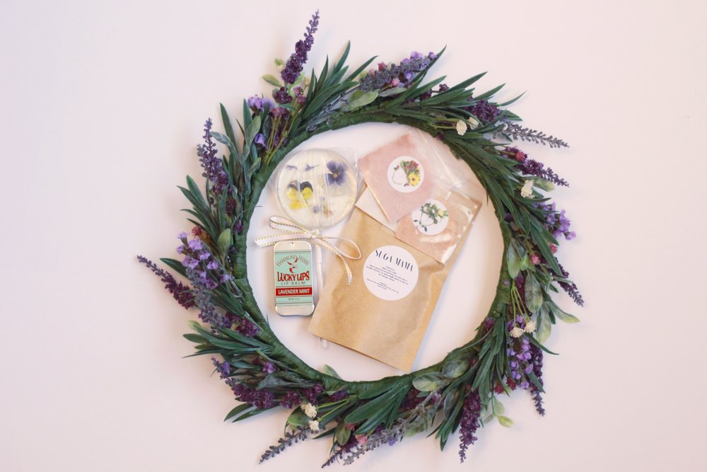 Floral Lollipops by  Lolli-Lollies  || Lavender Mint Lip Balms by  Hammond Herbs  || Suga Mama Coffee Scrub by  Bare Skn Co.  || Mineral Eyeshadows by  Boho Chic Cosmetics