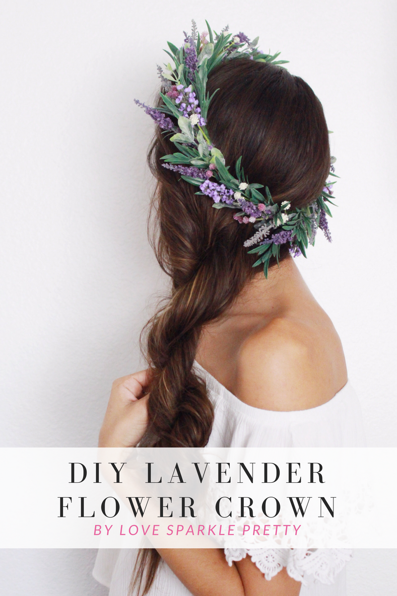 DIY Lavender Flower Crown by Love Sparkle Pretty. Braided hairstyle with flowers in hair.