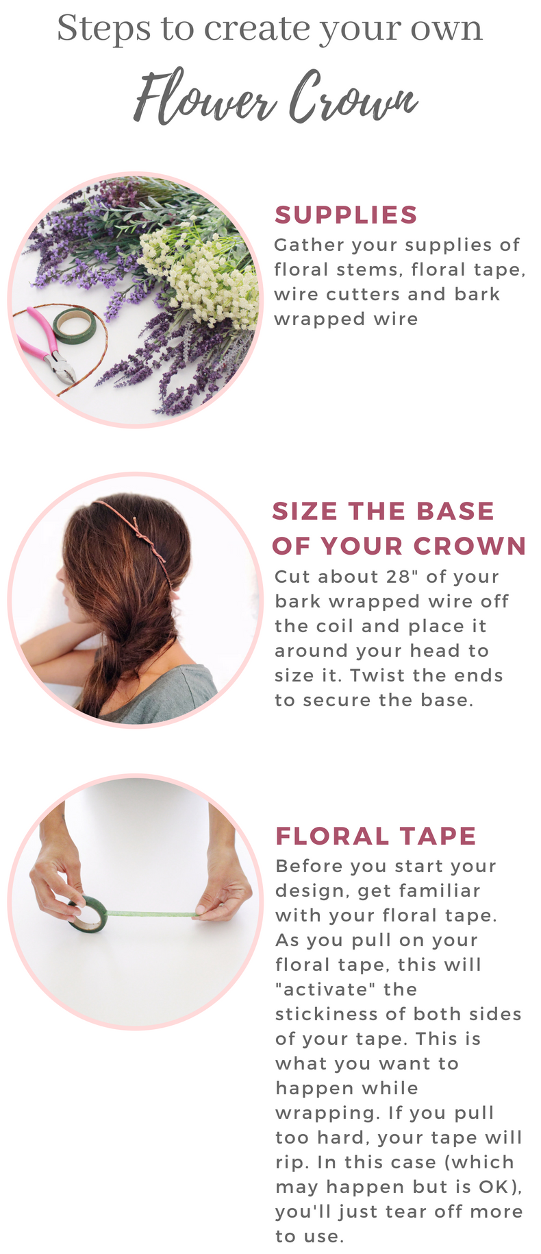 how to create your own flower crown. floral crown diy. lavender flower crown.