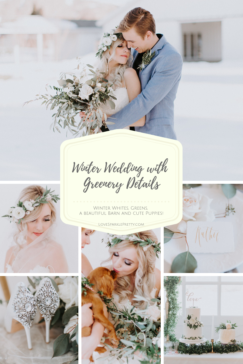 Winter wedding bridal style with flower crown hairstyle. White and greenery floral crown by Love Sparkle Pretty. Photos by Alex Lasota.