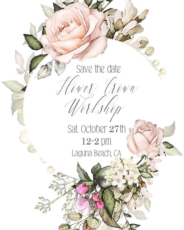 MARK YOUR CALENDARS! 🌸🌿 I'm so excited to announce the next workshop! ⠀⠀⠀⠀⠀⠀⠀⠀⠀ ⠀⠀⠀⠀⠀⠀⠀⠀⠀ Saturday, Oct. 27th is our next workshop where we will be creating a new #flowercrown design of mauve, pinks and cream blooms as well as greenery. Come join us at the sweetest beach bungalow @sourced_collective in Laguna Beach. 🌊 ⠀⠀⠀⠀⠀⠀⠀⠀⠀ ⠀⠀⠀⠀⠀⠀⠀⠀⠀ Tickets will be going on sale SOON! 👉🏻Sign up in the link in bio to be notified when tickets become available! Seats are limited. ⠀⠀⠀⠀⠀⠀⠀⠀⠀ ⠀⠀⠀⠀⠀⠀⠀⠀⠀ #flowercrownworkshop #socalworkshop #lagunaworkshop