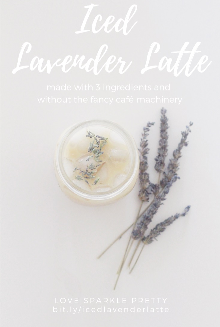easy iced lavender latte drink recipe made with just 3 ingredients and without machinery by Love Sparkle Pretty