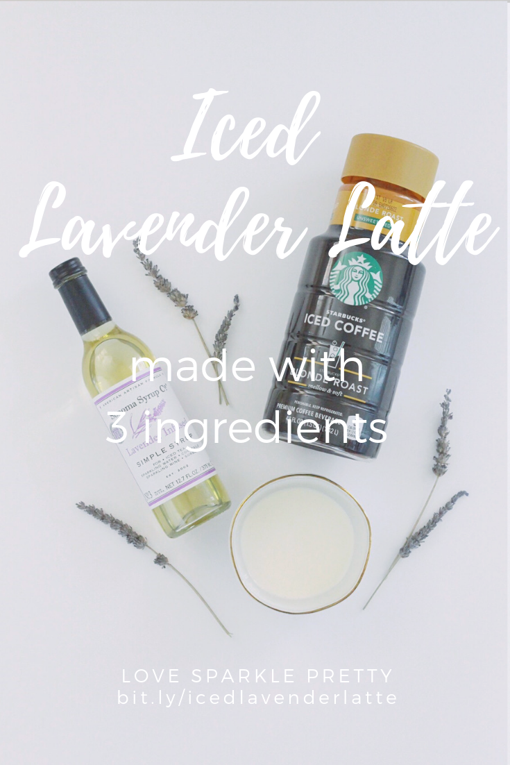 Easy Iced Lavender Latte made with 3 ingredients by Love Sparkle Pretty