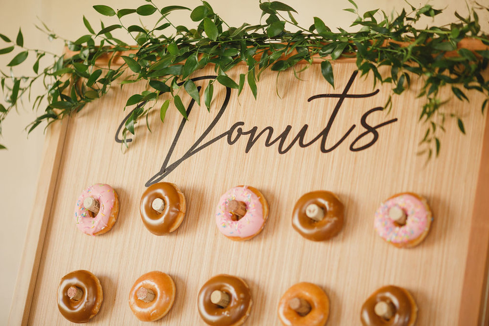 donut wall at flower crown workshop in southern California by Love Sparkle Pretty to provide clean water for World Vision