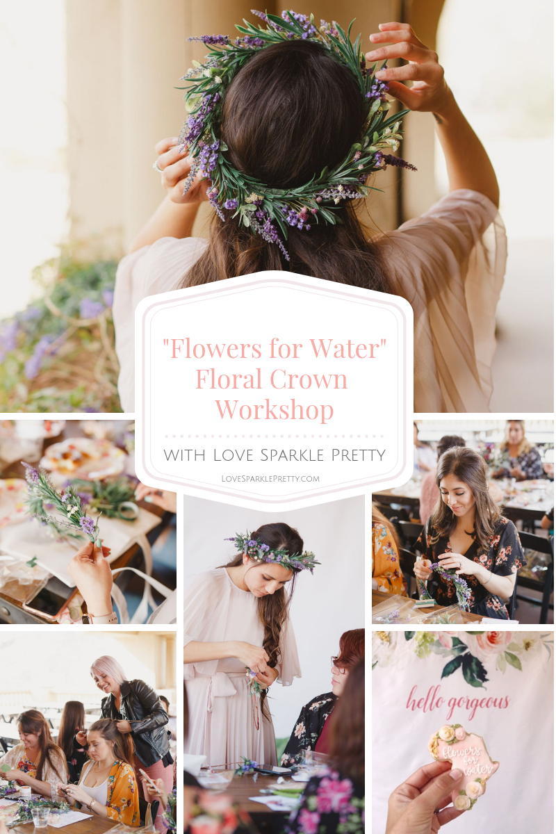 flower crown workshop in southern California by Love Sparkle Pretty benefitting charity. Floral Crown Event in SoCal. Photos by Kristen Booth.