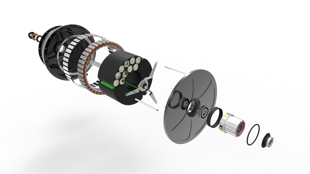 An exploded view of the E-Wheel™ with the special BLDC Motor design (rendering image)