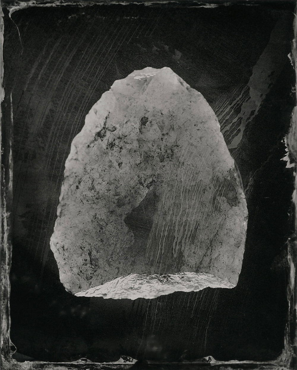This is a tintype (old photographic process) of a quartz stone tool. This will be another body of work in the future. I have added this image to show you the potential this body of work has for exploration through other mediums. This photo was taken during the DCA and Country Arts WA supported training with Ellie Young at Gold Street Studios 2016.