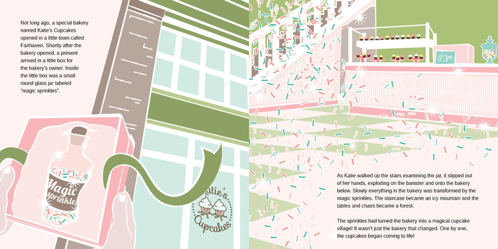 Illustration spread from a series of three children's picture books