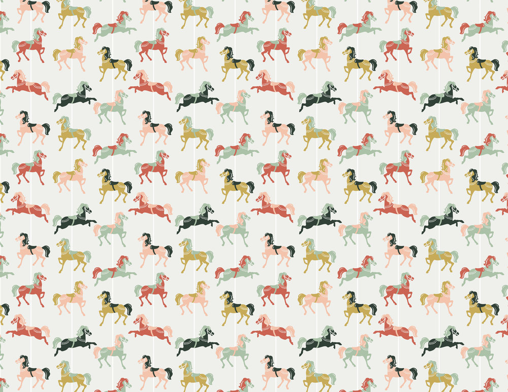 Illustration of carousel horses for fabric