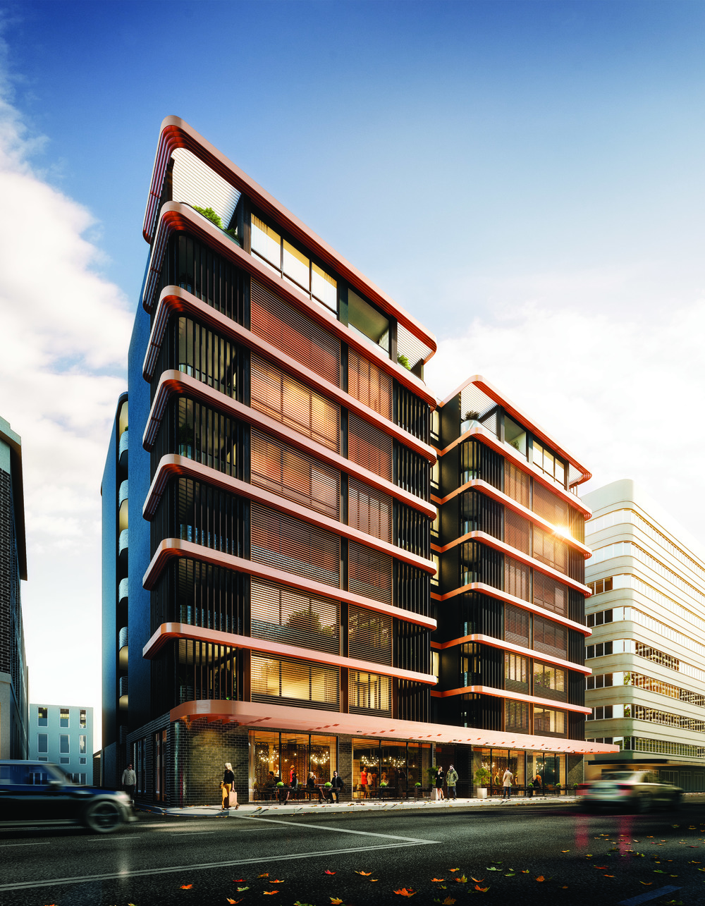 The facade and ground floor retail space at Golf House Residences, Surry Hills