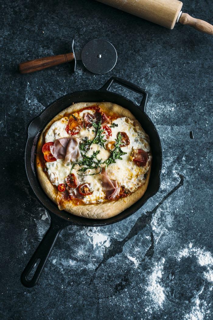 Prosciutto and Mozzarella Skillet Pizza 5.jpg