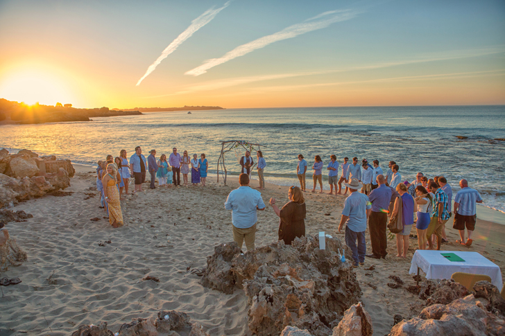 That perfect ceremony with the perfect sunset, including jet trails in the sky.