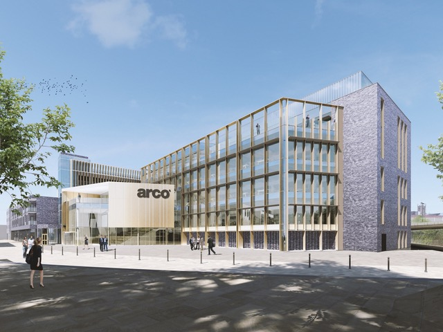 An impressive new headquarters for Arco, the UK's leading safety company, is the centrepiece of the planning application for the latest phase of the regeneration of Hull's Fruit Market. The plans include a 350 space multi-storey car park, shown behind the Arco building.