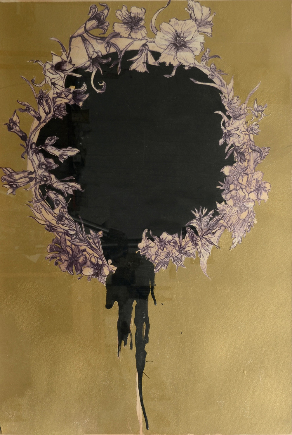 Wreath, Mixed media on paper, 110x80 cm, 2012