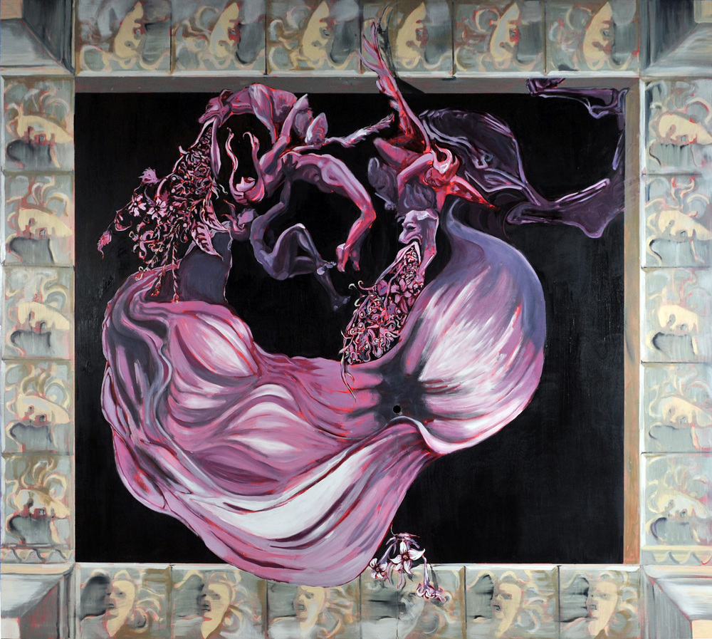Jezebel Descending to Hell, Ceiling painting, Oil on panel, 300x300 cm, 2010