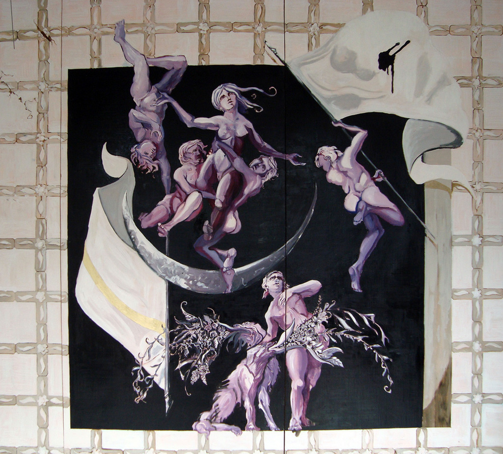 Tiklah, Ceiling painting, Alfred gallery Tel Aviv, Oil on pannel, 300x300 cm, 2010