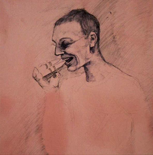 Self portrait, Ballpoint pen on Formica, 2004