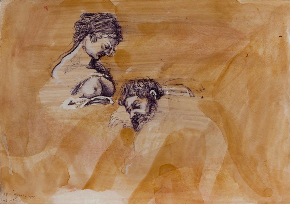 Samson (rubens) V, Ballpoint on paper, 25x30 cm, 2013