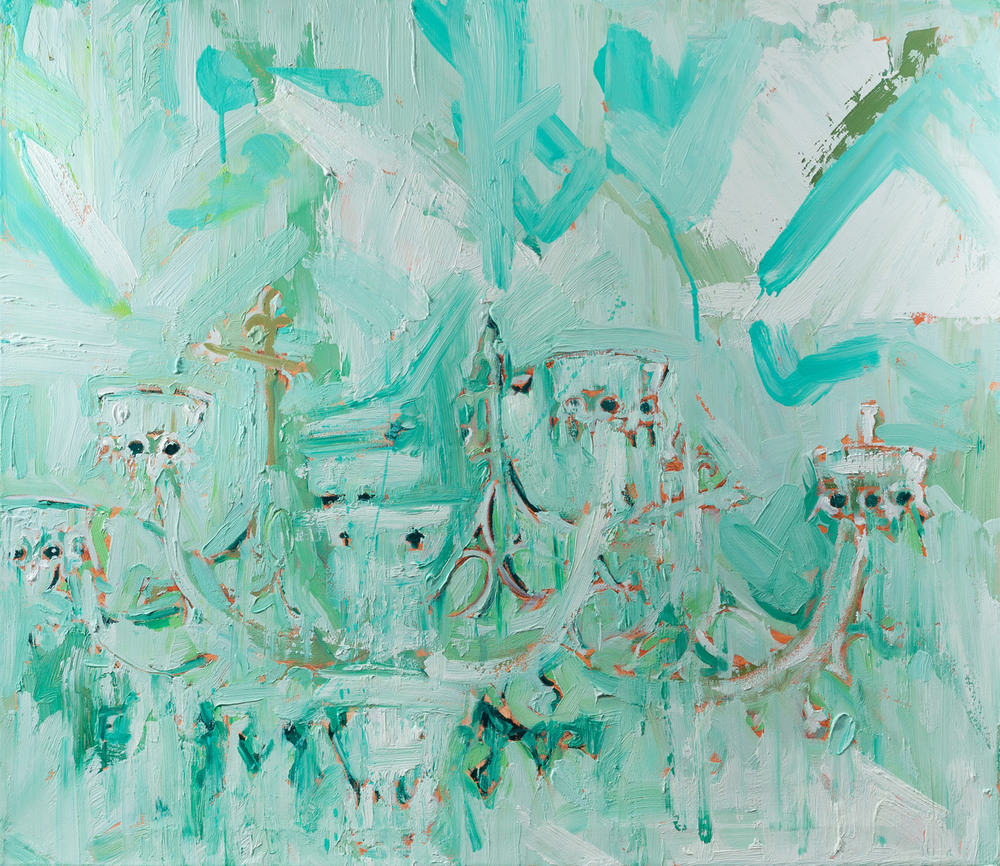 Chandeliertsky III, Oil and pencil on canvas, 80x90 cm, 2013