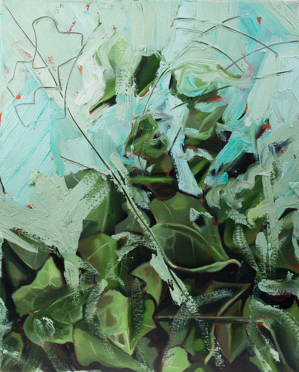 Ivy II, Oil and pencil on canvas, 70x50 cm, 2013