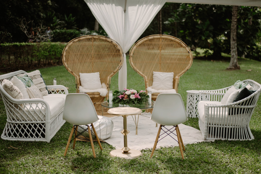 White Rattan Loveseat ,  White Rattan Chair ,  Modern Gold Side Table ,  Eames Chairs ,  Metal Modern Coffee Table ,  Textiles & Pillows