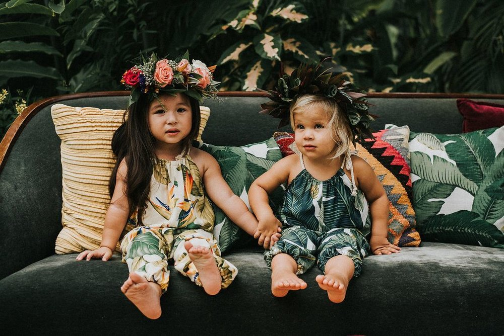 Lucy Romper in Bird of Paradise  (left) &  Lucy Romper in Banana Leaf  (right)  Photo By:  Gabriella Katalin
