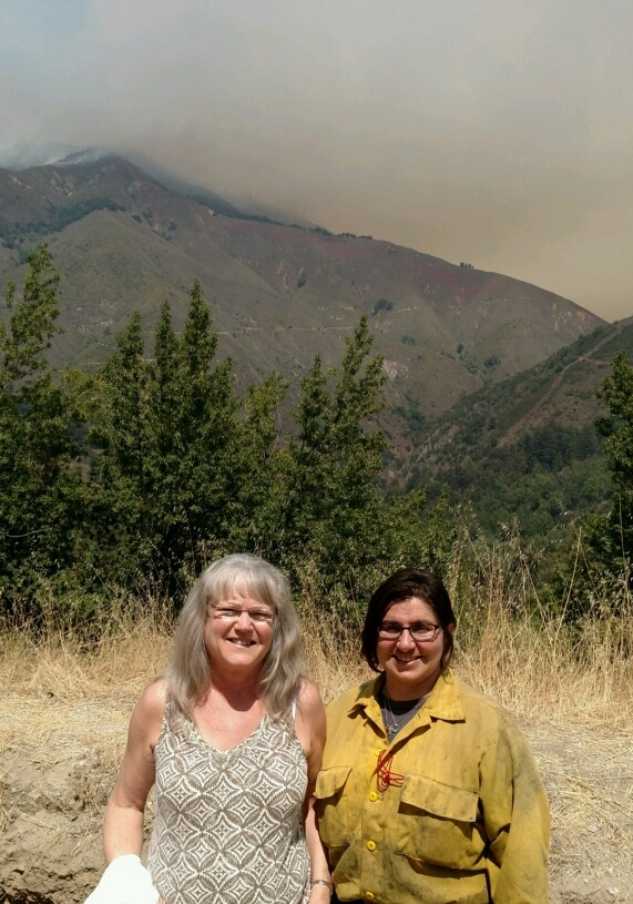 Elaine with Mercedes, a U.S. Forest Service Firefighter