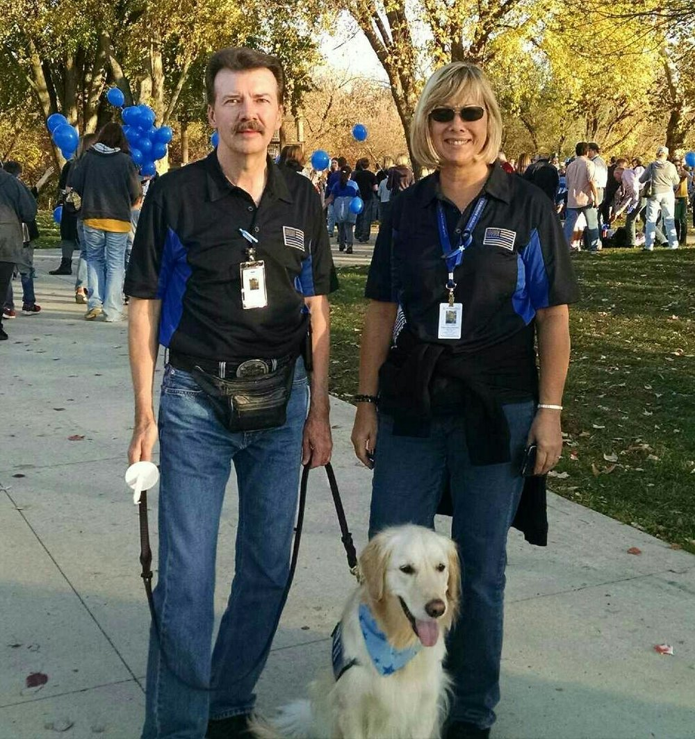 Patrick & Cherry Quinn with Comfort Dog Shiloh Attending Candlelight Vigil
