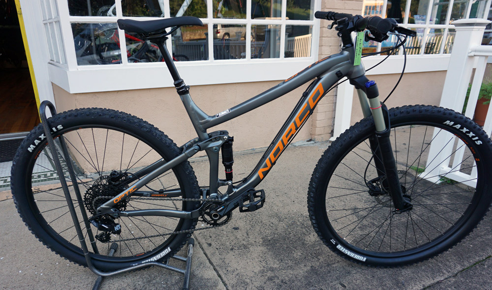Norco Optic A9.3 L - Reg $2400, SOLD!!!. SRAM NX11 and a Recon fork make this more than an entry-level bike. Dropper post and tubeless ready rims.