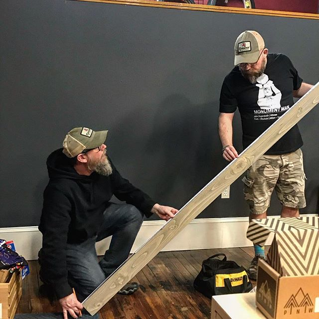 Gettin' it done in Grandin! Billy and Bob are working on a new display at the Grandin shop on a Friday evening and we're ready for the weekend. There's a new look at Orange, too. We're soooo ready for Spring.