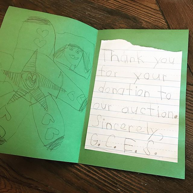 We love being an active part of the community, from supporting nonprofits like @jdrfgreaterblueridge and @ridesolutionsva to local schools. We received this nice note from Grandin Court Elementary after donating to their silent auction.