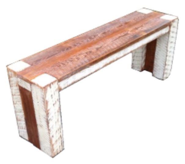 "Tinted Block Bench   4' long x 12"" wide x 18"" tall  Natural finish with Whitewash trim  $265"