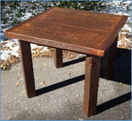 "Square Table       3' square Banded Plank    4x4 legs 30"" tall    $565"